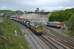 Freightliner Class 66/6 66617 & Class 56s 56081 & 56098 - Dove Holes Quarry (dwb transport photos) Tags: freightliner locomotive 66617 56081 56098 doveholesquarry peakforest