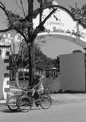 Tabasco Three-Wheeled Trike (peterkelly) Tags: digital bw canon 6d northamerica mexico tabasco bike tricycle threewheeledbike archway arch entrance gateway street road woman trike gadventures mayandiscovery