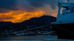 Sunny Clouds (John Kefalas) Tags: sea sky clouds cloudporn ship sun sunset shiplover skyporn shipsotting port harbour hellenicseaways boat nissosamos mytilene lesvos greece