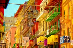 The Colors of Chinatown (Christina's World!) Tags: 6037 sanfrancisco chinatown colorful textures painterly yellow red green pink architecture buildings historical china chinese town cityscape balconies fireescapes brick patio california unitedstates usa afternoon light sunlight signs restaurant asian kurtp eoft