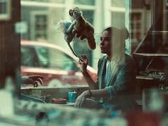 mystery man (claudia 222) Tags: gfx50r gf110mmf2rlmwr cat woman window amsterdam humans streetphotography shop hand glasses urban candid