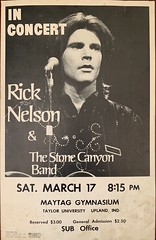 Rick Nelson & The Stone Canyon Band In Concert at Taylor University in Upland Indiana March 17, 1973 St. Patrick's Day (Thick Paper stock concert poster measuring 14x22). Very Rare (rockinred1969) Tags: star tv harriot ozzy it'slate stoodup poorlittlefool gardenparty idol teen teenidol rock'n'roll rockandroll roll rock gymnasium maytag concert inconcert 17 march indiana university taylor 1972 1971 1970 1969 1968 1960's 1950's 1973 randymiesner jamesburton stonecanyonband nelson rick rickynelson