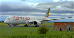 (Liverpool F C exodus to Madrid) Ethiopian Airlines Boeing 787-9 Dreamliner (ET-AUP) Liverpool John Lennon Airport 31st May 2019 (Cassini2008) Tags: liverpooljohnlennonairport ethiopianairlinesboeing7879dreamliner championsleaguefinal2019 aviation aircraft ethiopianairlines etaup