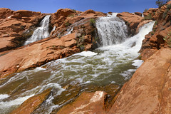 Waterfall at Gunlock reservoir near St George Utah (swissuki) Tags: usa ut utah water fall gunlock sky stgeorge sun landscape nature