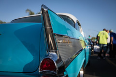 1957 Chevrolet Bel Air (Photos By Clark) Tags: california vehicles northamerica subjects canon2470 canon5div carsandtrucks unitedstates location locale places where 1957 57 chevy restored chrome fins icon classic lightroom thesandiegoist car auto show summer socal blue white