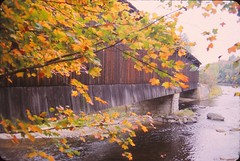 New England Covered Bridge in Fall (Stabbur's Master) Tags: newengland bridge coveredbridge river newenglandcoveredbridge fall autumn newenglandautumn