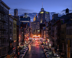 East Broadway, Chinatown (onefivefour) Tags: nyc newyork night city street lights chinatown eastbroadway manhattan dark bluehour wtc