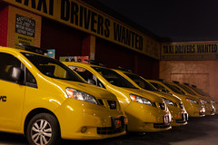 Taxi Drivers Wanted (Someone's Name) Tags: newyork newyorkcity parkslope brooklyn medallion taxi nyc garage driver nissan night yellow car street repair insurance repairshop mechanic cab yellowcab