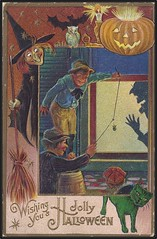 1910 Nash / Jaeger Vintage Halloween Postcard - Witch, Jack-O-Lantern, Cat, Bat & Owl - Boys Playing a Trick or Treat Prank (Treasures from the Past) Tags: afraid angel autumn bat black blackcat bogeyman boo broomstick candy cape casket cat cauldron cemetery cobweb coffin costume creepy dead demon devil eerie evil fog fright ghost ghoul goblin gravestone halloween hat haunt hauntedhouse headstone howl jackolantern lantern magic mask midnight monster moon night october orange owl pitchfork potion prank pumpkin scarecrow scary shadow skeleton spell spiderweb spirit spooky superstition thirtyfirstoctober tombstone trick trickortreat troll vampire vanish warlock web wicked witch wizard nash jaeger