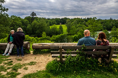 A Place With A View (Isengardt) Tags: place platz view aussicht color farbe nature landscape natur landschaft street streetphotography strasenfotografie schlos bärenschlössle bäume trees woods wälder sky himmel dramatic dramatisch kontrast chat talk reden pair paar couple stuttgart badenwürttemberg deutschland germany europe europa green grün bank bench sit sitzen baumstamm olympus omd em1 1250mm