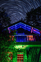 Cabin Life (Edward Wolohan) Tags: astronomy astrophotography astrophoto light rgb nightsky universe galaxy stars startrail startrails polaris mountain logcabin wicklow wicklowmountains ireland eire eriu north newmoon summer summernights wicklowhighlife