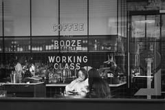 Working Class watering hole (cupitt1) Tags: booze drink beer coffee caffeine shop table customers drinkers break xpro1 fuji blackwhite mono monochrome working class