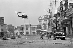 10 May 1968, Saigon, Vietnam --- South Vietnamese troops in the streets of Saigon during the Vietnam War (manhhai) Tags: 2 adults aircraft asia asianhistoricalevent asians battle cholon helicopter historicevent hochiminhcity landbattle males men midadult midadultman military militarypersonnel militaryvehicle motorvehicle northamericanhistoricalevent people soldier southeastasia southeastasians southeastregion unitedstateshistoricalevent urbanbattle vehicle vietnam vietnamwar19591975 vietnamese vietnamesehistoricalevent war