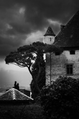 Le chateau d'Yvoire (N.Hell) Tags: castle yvoire france landscape dark sky cloud building mood black white bw monochrome tree medieval village canon 50d view scenery old vintage