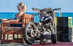 Easy Rider pub, Side, Turkey, May 2019. (CWhatPhotos) Tags: cwhatphotos flickr pics picture pictures photo photos photographs foto fotos with that have which contain look like art artistic view views camera olympus micro four thirds sunny day holidays holiday turkey side turkish may 2019 hot sun blue sky skies gorgeous easyrider bike woman pub vintagemotorcycle motorcycle drink