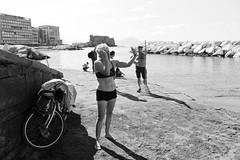 (Eight Years On The Beach) (Robbie McIntosh) Tags: leicam9p leica m9p rangefinder streetphotography 35mm leicam autaut candid strangers leicaelmarit28mmf28iii elmarit28mmf28iii elmarit 28mm seaside man belly tan naked colonnaspezzata bikini swimsuit blackandwhite