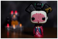 Geisha Girl (DayBreak.Images) Tags: toy tabletop funkopop home girl 50mm lights miniature border geisha ringlight trioplan mirrorless photoscape meyeroptic canoneosm