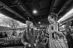 Downtown Sunday Market, 2019 (Alan Barr) Tags: baltimore maryland 2019 downtownfarmersmarket sundaymarket street sp streetphotography streetphoto blackandwhite bw blackwhite mono monochrome candid city market people olympus tg1