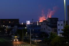 An industrial night (しまむー) Tags: fujifilm xe2 ebc fujinon 55mm f18 velvia yokohama kabushima 横浜 蕪島 八戸 蕪島神社 菜の花