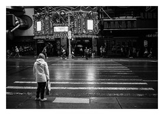 FILM - Crossing 42nd Street (fishyfish_arcade) Tags: 35mm analogphotography bw blackwhite blackandwhite canonsureshotz135 filmphotography filmisnotdead hp5 istillshootfilm monochrome newyork analogcamera compact film ilford mono 42ndstreet rain streetphotography