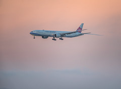 china airlines flight cl 4 on final from taipei (pbo31) Tags: bayarea california nikon d810 color may 2019 boury pbo31 sanfranciscointernational sfo burlingame airport plane airline runway aviation travel flight boeing 777 sanmateocounty sunset arriving landing airchina orange
