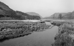 Buttermere, Lake District (Jonathan Woods Photography) Tags: ebony sv45te large format film 5x4 sheet ilford delta 100 landscape lake district river buttermere grass sun calm