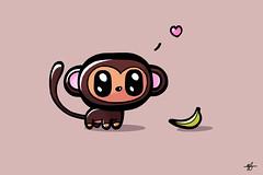 Say hello to Meilo! (Ephraim Fowler) Tags: ephraim fowler monkey meilomonkey banana art drawing painting illustration