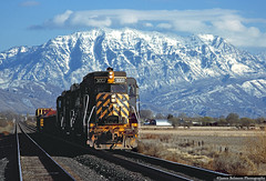 The Wasatch Wall (jamesbelmont) Tags: riogrande gp30 mtcascade wasatchmountains americanfork utah drgw railroad railway locomotive train