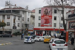 Uskudar District (lazy south's travels) Tags: uskudar district asian side istanbul turkey turkish road street scene city urban woman advert car people advertisement