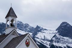 Mountain Church (ellieupson) Tags: church religion canmore architecture mountain snow alberta canada rockies bell town skyline sky