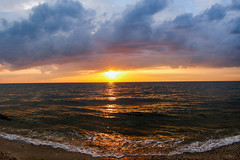Sunset on the Sound (lablue100) Tags: sunset sun colors water waves sea sound bay clouds nature landscapes nightime spring beauty horizon