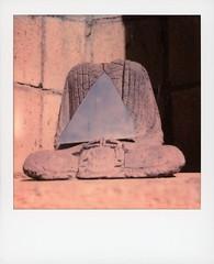 Headless Buddha 3 (tobysx70) Tags: polaroid originals color 600 instant film slr680 headless buddha vista del mar avenue beachwood canyon hollywood hills los angeles la california ca statue mirror reflection blue sky bokeh toby hancock photography