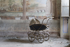 Villa Forte (Jonnie Lynn Lace) Tags: abandoned italy italia italian europe european trip travel euro europa interior house home mansion villa art arte artwork painting carriage pram baby red yellow blue old classic history historic time memories decay derelict detail details design texture textures lowlight nikkor nikon d750 50mm shadows window exploration explore explorer urbex jonnielace