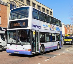 First Norwich 33126 is on Castle Meadow while on route 36 to City Centre. - LT02 NVO - 1st April 2019 (Aaron Rhys Knight) Tags: firsteasterncounties firstnorwich 33126 lt02nvo 2019 castlemeadow norfolk norwich first dennistrident2 plaxtonpresident volvob7tl