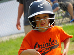 IMG_2963 (kennethkonica) Tags: kids children family face canonpowershot canon indianapolis indiana indy midwest usa america hoosier random mood people person color eyes atmosphere baseball orange helmet littleleague game fun