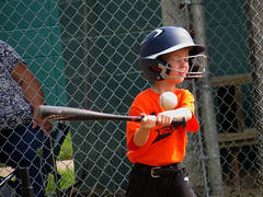 IMG_2908 (kennethkonica) Tags: kids children family face canonpowershot canon indianapolis indiana indy midwest usa america hoosier random mood people person color eyes atmosphere fence helmet bat ball orange baseball