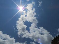Burst Of Sunshine. (dccradio) Tags: lumberton nc northcarolina robesoncounty outdoor outdoors outside cloud clouds sun sunlight sunshine cloudformation whiteclouds sky bluesky saturday june summer saturdayafternoon afternoon goodafternoon sunburst starburst canon powershot elph 520hs photooftheday project365 photo365 nature natural godshandiwork beauty beautiful scenic pretty
