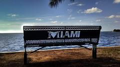 Park Bench, Estilo Miami (MerperC) Tags: parkbench bench miami miamifl florida biscaynebay alicewainwrightpark urban southflorida fl