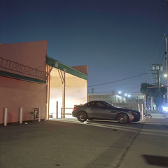 Adams Blvd. (ADMurr) Tags: la eastside night benz adams rolleiflex 35 e zeiss planar mf fuji pro 400 dad998a 6x6
