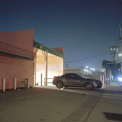 Adams Blvd. (ADMurr) Tags: la eastside night benz adams rolleiflex 35 e zeiss planar mf fuji pro 400 dad998a 6x6