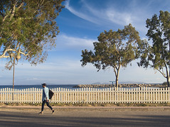 Seaside walking (Oleg Kr) Tags: greece mesolong fence landscape sea seaside shadows trees walking