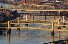 Bridges in Downtown Pittsburgh - Evangelos Aftosmes (evangelosaftosmes) Tags: pittsburgh golden bridge pennsylvania downtown skyscraper fall skyline architecture colorful panorama tree yellow autumn panoramic horizontal famousbuilding businesstravel travel traveldestinations officebuilding scenics cityscape builtstructure citylife urbanscene city downtowndistrict waterfront night dusk illuminated evangelosaftosmes evanaftosmes