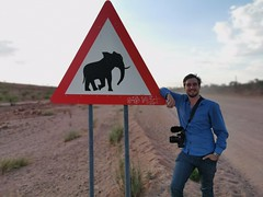 Kas beside his first elephant sign