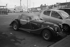 Morgan (IMG_0012mod) (AngusInShetland) Tags: morgan sportscar vehicle car thulebar lerwick shetland scotland 35mm bergger blackandwhite film analogue canoscan5600f