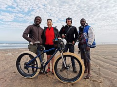 The starting team at the mouth of the Kunene River; Elago, myself, Kas, Thomas