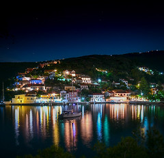 Assos Kefalonia (IanEdwards_uk) Tags: assos greece kefalonia greek village sea boats swimming sky blue houses picturesque beautiful traditional ionian architecture coloured pebbly beach clear waters night streetnight reflections reflected long exposure pastelcolours d7500 haida