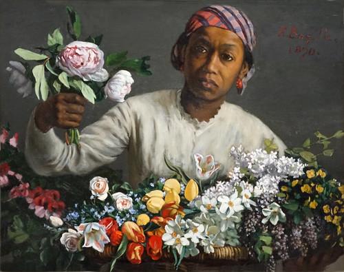 Jeune femme aux pivoines de F. Bazille (musée d'Orsay, Paris)