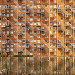 A Musing Dream (Paul Brouns) Tags: de muzen appartments almere muziekwijk architecture paulbrouns paul brouns paulbrounscom architektur architectuur flevoland nederland netherlands paysbas commission square squareformat balconies windows water reflection reflections pond sun orange diagonal structure structural geometry geometric sunny façade facades façades city archive stadsarchief exhibition facade abstract