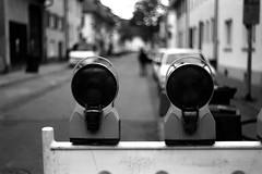 Road closed (Leica M6) (stefankamert) Tags: road street closed barrier blackandwhite blackwhite noiretblanc noir people bokeh blurry blur focus analog film grain dof lights leica m6 leicam6 ilford fp4 summitar stefankamert 062017