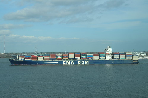 Container Ship CMA CGM White Shark Arriving at Charleston Harbor (South Carolina)  - From the Royal Caribbean Grandeur of the Seas -  February 16th, 2019